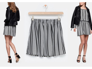 Plisse Stripe Skirt